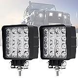48W Faro Trabajo LED, 2PCS Focos LED Tractor 12V- 50V 4800LM Faros adicionales Offroad Focos de Coche Off-road Foco de Trabajo LED para Moto 4x4 ATV SUV Tractor Barco UTV