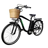 Trekpower 250W Electric Bike 6 Speed Electric Bikes for Adults 26' Electric Bicycle with Basket High Speed Ebike with 36V 10AH Removable Battery