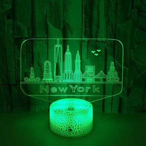 MRQXDP nachtlampje voor kinderen New York City, voor kinderen, kinderkamer, hal, kinderkamer, decoratieve verlichting met kleurwisselende kleuren