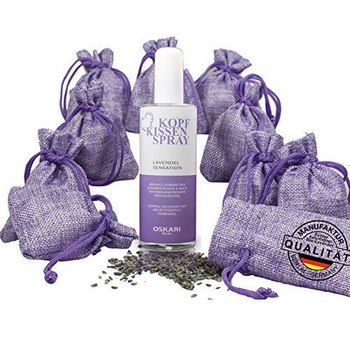 Oskari 10x Lavendelsäckchen Schlafen + 100ml Bio Lavendel Kissenspray zum Einschlafen Lavendelsäckchen mit 100 Gr Echter Lavendel aus Frankreich Deep Sleep Spray Kopfkissen Made in Germany