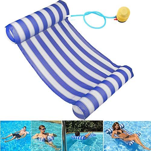 GEYUEYA Home Aufblasbare Hängematte, Wasser Hängematte Aufblasbare Wasserhängematte Ultrabequeme Luftmatratze Schwimmende Wasser Bett Matte Aufblasbare Kopf für Erwachsene und Kinder 120kg( blau )