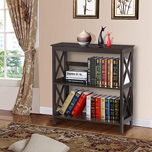 YAHEETECH 3 Tier Wooden Storage Console Table Sofa Table Display Shelving for Entryway Living Room, Espresso