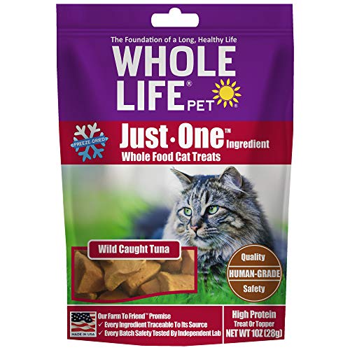 Whole Life Pet Products Healthy Cat Treats, Human-Grade Wild-Caught Tuna, Protein Rich for Training, Picky Eaters, Digestion, Weight Control, Made in The USA, 1 Ounce (TU280)