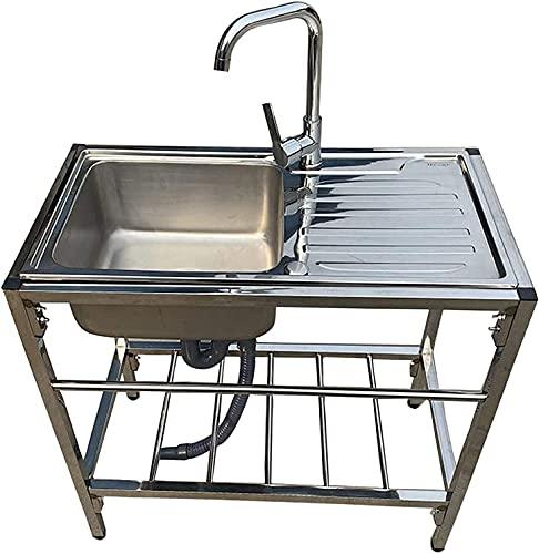 Fregaderos comerciales, Fregadero comercial de acero inoxidable de un solo tazón de fregadero con soporte de soporte para la lavandería Garaje interior de cocina al aire libre Bar restaurante-
