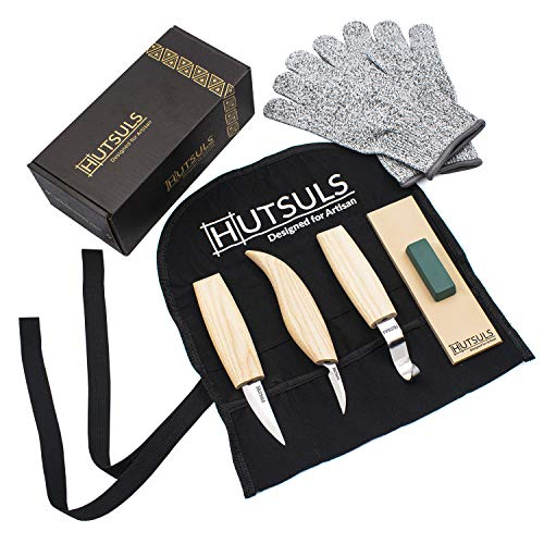 HUTSULS Wood Whittling Kit for Beginners - Razor Sharp Spoon Carving Tools Set in a Beautifully Designed Gift Box, Woodworking Hobbies for Men, Women, Adults and Kids - Easy to Use. (8 Pieces)