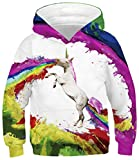 RAISEVERN Unicorn Hoodies 3D All Over Printed Design Vibrant Costume Colorful Paint Pattern Unisex Kids Funky Novelty Sweatshirt Hipster Pullover Hoody Clothes Casual Outfits Size 12 13
