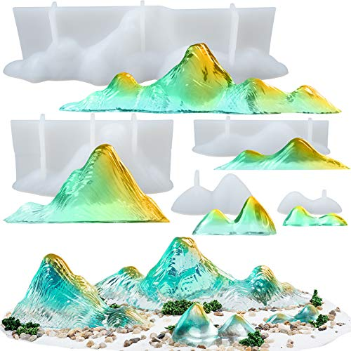 Musykrafties Juego de moldes de silicona de resina epoxi 3D Mountain Rockery, Diorama, paisaje, jardín de hadas en miniatura, proyecto de arcilla polimérica, 5 unidades, longitud de 4,6 a 22,8 cm