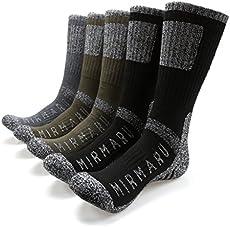 MIRMARU M202-Medium-Men's 5 Pairs Multi Performance Outdoor Sports Hiking Trekking Crew Socks (2Black,2Olive,1Char)