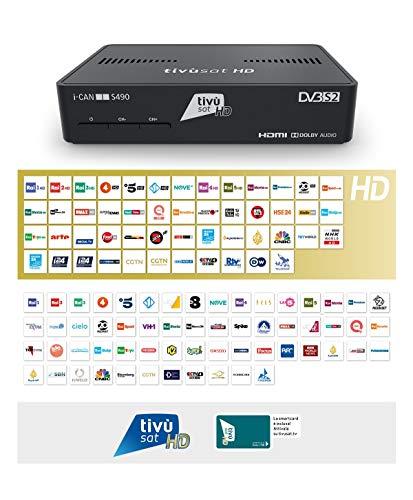 Decoder ICAN S490 Digitale HD Tivùsat Ricevitore Satellitare HEVC DVBS2 HDMI Dolby TVSat i-Can Media...
