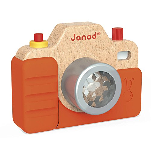 Janod Beech Wood Toddler Camera with Light & Sound Effects & Silicone Cover for Pretend Play Ages 18 Months+