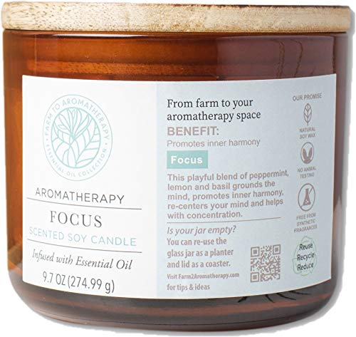 Farm to Aromatherapy 2-Wick Candle with Wooden Lid, Focus: Clean & Pure, Long Burning, Stress Relief, Promotes Wellness & Harmony, Clarifying & Re-Centering with Therapuetic Qualities, 9.7 Oz.