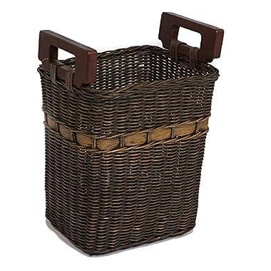 The Basket Lady World's Smartest Wicker Waste Basket One Size Antique Walnut Brown