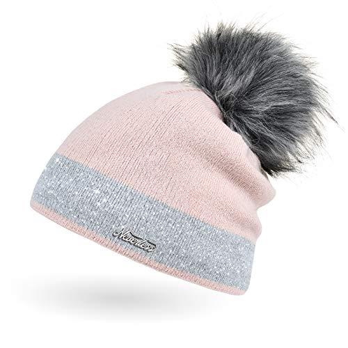Neverless Damen Strick-Mütze gefüttert mit Fell-Bommel Kunstfell Winter-Mütze Feinstrick Glitzer-Garn Bommelmütze rosa-grau