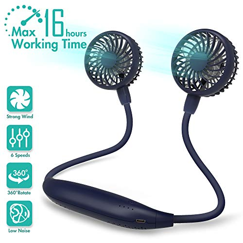 Portable Neck Fan, 2600mAh Battery Operated Ultra Quiet Hands Free USB Fan with 6 Speeds, Strong Wind, 360° Adjustable High Flexibility Wearable Personal Fan for Home Office Outdoor Travel (Navy Blue)