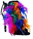 Women Feather Peep Toe Ankle Tie Up Strap Stiletto Heel (Rainbow, 8)