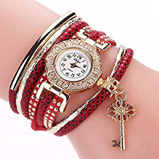 Elegant Watches for Women Fashion Luxury Lady Watch Round Small Dial Diamond-Plated Ring Bracelet Quartz Watch with Key Pendant Female Belt Watch (Color : Red)