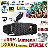 4K 1080P HD WiFi 3D LED Mini Video Theatre Projector Home Cinema 18000LM HDMI- Random Color Sent