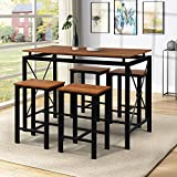 Dining Table Set for 4, 5 Piece Dining Table Set, Modern Kitchen Table Set with 4 Metal Chairs, Kitchen Dining Room Table and Chair Set, Perfect for Kitchen, Living Room (Red Natural Wood)