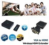 Measy W2H Mini Transmisor y Receptor inalámbrico de Video VGA HDMI para Netflix Streaming HD 1080p Video 3D y Audio Digital Desde computadora portátil, PS4 a HDTV/proyector (W2H Mini + VGA)