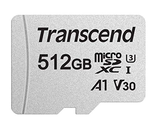 Transcend 512GB microSDXC/SDHC 300S Memory Card / Speicherkarte TS512GUSD300S mit Adapater / bis zu 95 MBs lesen und 40 MBs schreiben