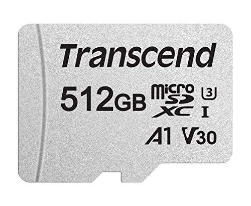 Transcend Usd300S Tarjeta Microsd de 512Gb, Clase 10,, V30, A1, Hasta 95 Mbs de Lectura, con Adaptador Sd