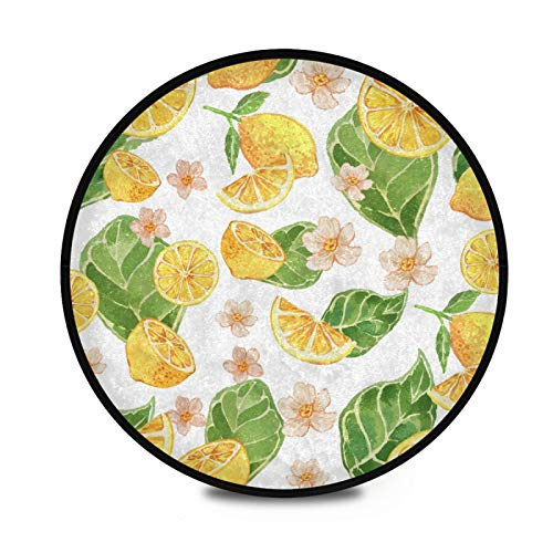 Round Rug Plush Circle Rug Watercolor Lemon Yellow Fluffy Carpet Soft Round Area Rugs for Bathroom Indoor Boys Girls Room 3 ft