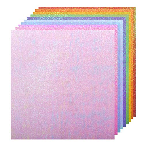 BearBoss Glitter Paper, 80GSM 50 Sheets Creative Colored Shimmer Sparkly Paper Thin Craft Cardstock Paper for DIY Projects Gift Box Wrapping Birthday Party Decor Scrapbook, 10 assorted Colors