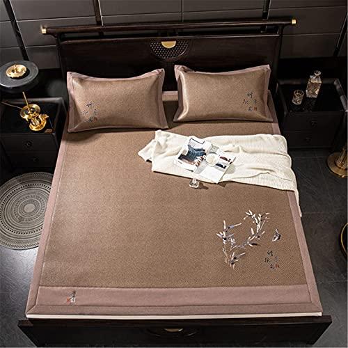 DXMRWJ Colchoneta de enfriamiento de ratán de Verano, Juego de 3 Piezas, colchón de Seda de Hielo de Doble Cara Plegable, colchón de Aire Acondicionado, para Dormir, para Dormitorio, Cama Doble, es