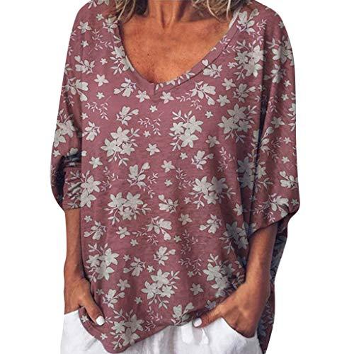 SHINEHUA T-shirt dames korte mouwen T-shirt zomer losse thee shirt ronde hals blouse casual bovendeel basic top korte mouwen shirt peach hart patroon 5XL wijn