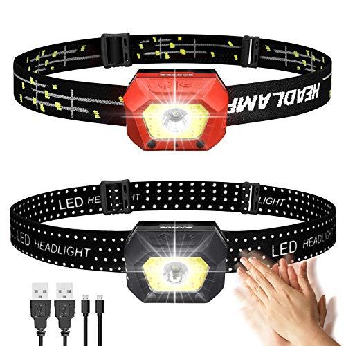 SGODDE Stirnlampe LED Wiederaufladbar, USB Ultraleichte 1000lm Headlamp, Super Helle IPX65 Kopflampe, Wasserdicht 45°einstellbar Mini Sensor Kopfleuchte, mit Rotlicht Warmlicht und Ladunglicht
