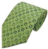 Silk Ties corbata de seda diamantes y cajas 8,5 cm, Krawatten Seide Rauten & Kästchen 8.5:Verde
