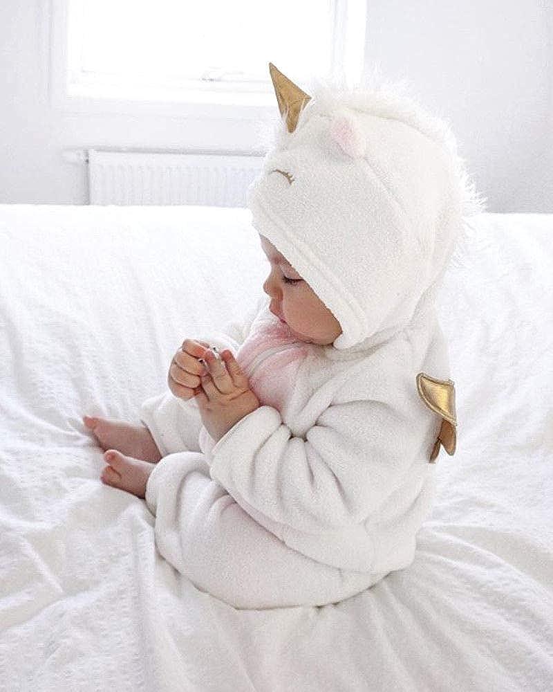 Geagodelia Barboteuse /à capuche pour b/éb/é unisexe avec licorne et manches longues en flanelle 0 24 mois