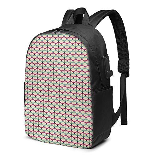 WEQDUJG Mochila Portatil 17 Pulgadas Mochila Hombre Mujer con Puerto USB, Repetición elíptica Mochila para El Laptop para Ordenador del Trabajo Viaje