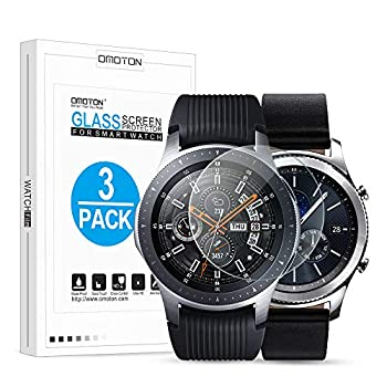 OMOTON Tempered Glass Screen Protector Compatible Samsung Galaxy Watch 46mm & Gear S3 [3 Pack]