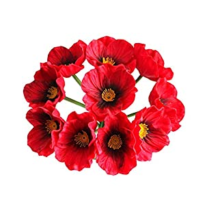 RIABXZ 10 Psc Artificial Poppies Flowers, Artificial Real Touch PU Poppies Flowers, Decorative Red Artificial Poppy Flowers for Room Wedding Holiday Bridal Bouquet Party Decor (12.5 Inch)
