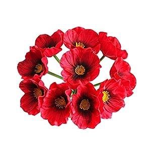 VKTY Flores artificiales de amapola, 10 piezas de adorno de amapola de poliuretano de tacto real, 32 cm de maíz rojo…