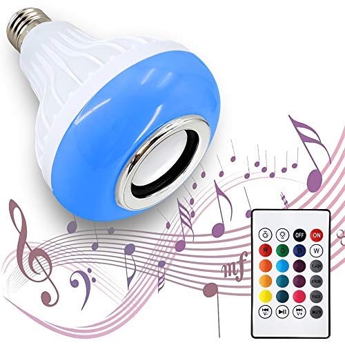 AmeriLuck Bluetooth Speaker LED Light Bulb, Remote Control Color Changing for iOS & Android