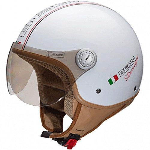 Beon Design Luxe Helm – Motorradhelm – Jethelm – Glänzend weiß – L
