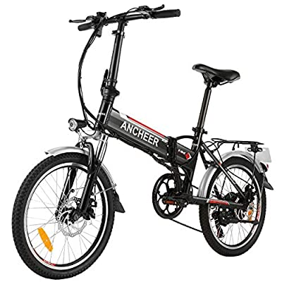 ANCHEER Folding Electric Bike Ebike, 20 Inch Electric Bicycle with 36V 8Ah Removable Lithium-Ion Battery, Ebike with 250W Motor and 7 Speed Gears