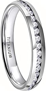 iTungsten 4mm Titanium Rings for Women Men Eternity Wedding Engagement Bands White Blue Cubic Zirconia Stone Inlay Domed P...