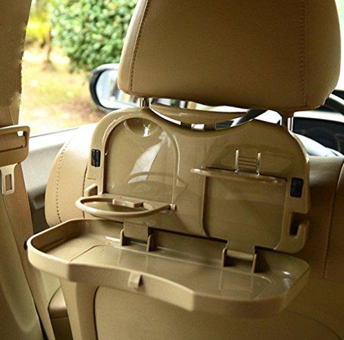 INION 1x Tisch für Autorücksitz - KLAPPTISCH & MEHRZWECKTISCH - Spieltisch - Esstisch Ausklappbar für Getränke und Mahlzeiten im Auto (1x Rücksitztisch BEIGE)
