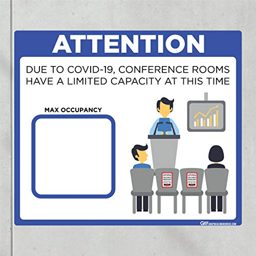 'Conference Room Limited Capacity' COVID-19 (CORONAVIRUS) Adhesive Durable Vinyl Decal- (Various Sizes Available) Sign by Graphical Warehouse- Safety and Security Signage (14x12', Blue)