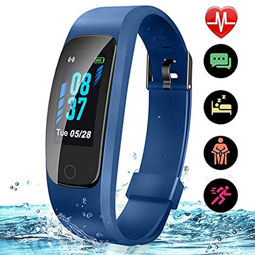 LTLJX Fitness Armbanduhr mit 0.96 Zoll Farbbildschirm Herzfrequenzmessung Schlaf-Monitor Kalorien Schrittzähler Wasserdicht IP68 Bluetooth Sportuhr Call SMS Push für Android iOS,Blau