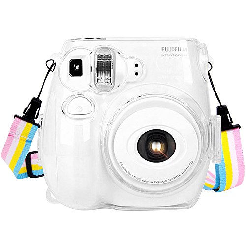 Wolven Crystal Camera Case with Adjustable Rainbow Shoulder Strap Compatible with Fujifilm Mini 7C 7S Camera / Polaroid PIC-300 Camera, Transparent