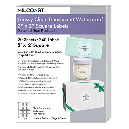 """Milcoast Glossy Clear Translucent Waterproof Tear Resistant 2"""" x 2"""" Square Labels - 240 Stickers (20 Sheets)"""