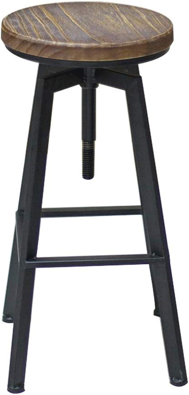 Solid Wood Chair Lift, Round Bar Bar Stool, High Stool, redating High Swivel Chair Lift 20cm