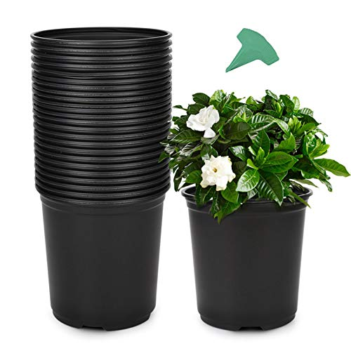 GROWNEER 24 Packs 0.7 Gallon Flexible Nursery Pot Flower Pots with 15 Pcs Plant Labels,...