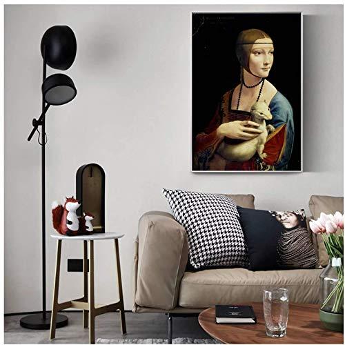 ZNNHERO La Signora con l'ermellino Riproduzioni di Quadri su Tela sul Muro di Leonardo da Vinci Famosa Tela Wall Art Home Decor-60x90cmx1 Senza Cornice