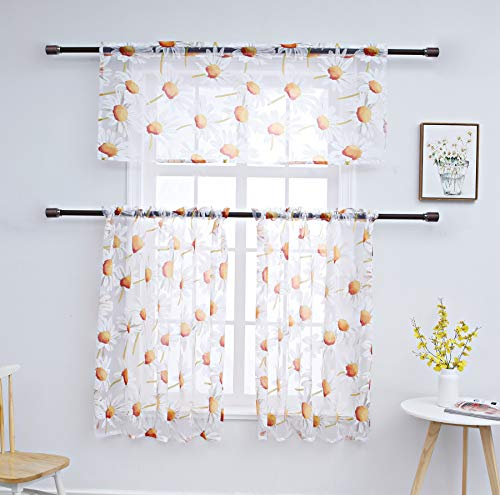 Annlaite Floral Embroidered Semi Sheer Kitchen Curtain Set with 2 Tiers and 1 Valance, Bathroom/Café Curtain Rod Pocket Window Treatment (Orange 1 Valance+2 Tiers)