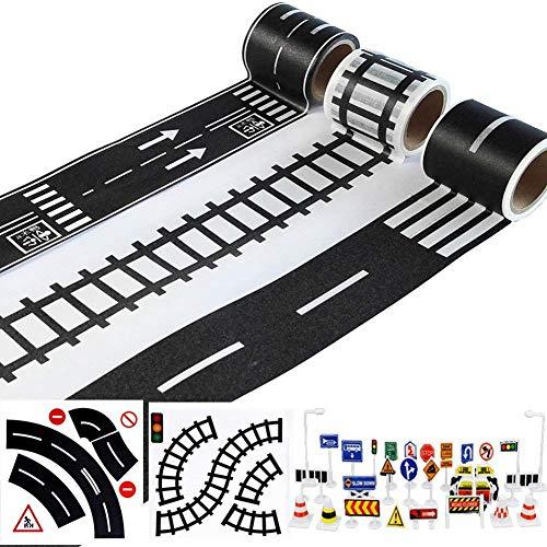 Runtodo Cinta De Carretera para Juguete Coches Y Trenes 3 Rollos 4.8Cmx5M Senales De Trafico De Pista De Curva Recta - Regalos para Ninos